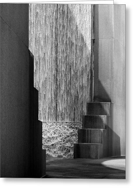 Architectural Waterfall In Black And White Greeting Card