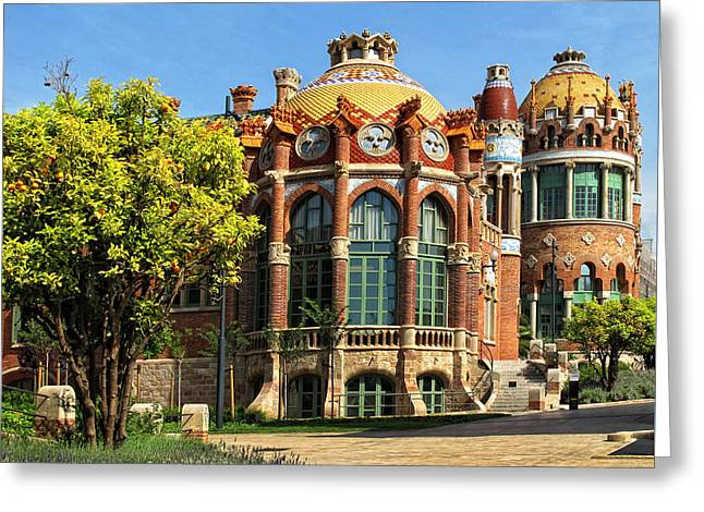 Architecture At Sant Pau Greeting Card by Dave Mills