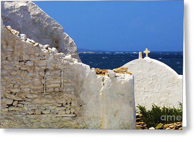 Greeting Card featuring the photograph Architecture Mykonos Greece 2 by Bob Christopher