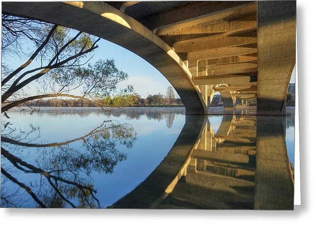 Architecture Of Austin Bridges Over Lady Bird Lake Greeting Card by Rob Greebon