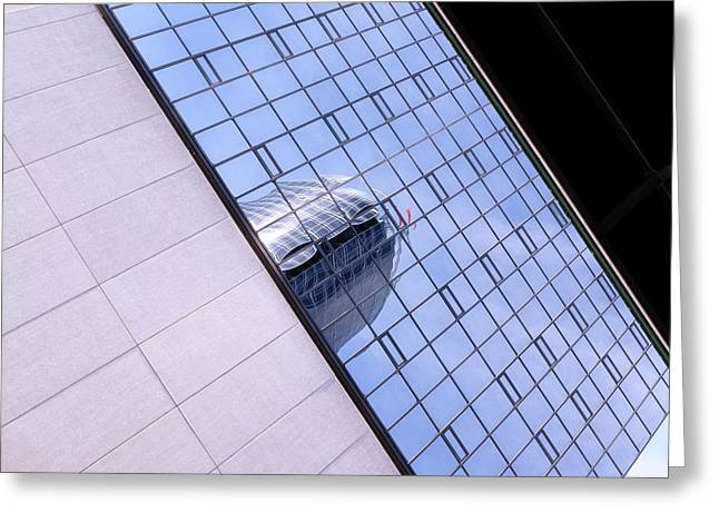 Architecture Photo On Its Side With Windows And Cement In Grand Rapids Michigan Greeting Card