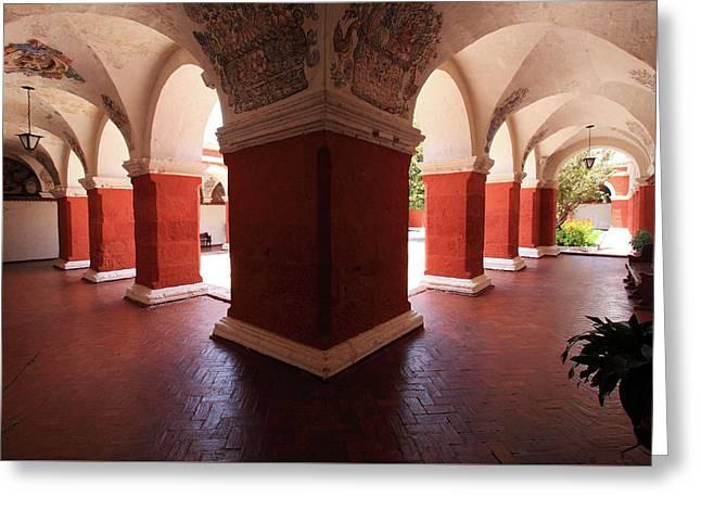 Archway Paintings At Santa Catalina Monastery Greeting Card by Aidan Moran