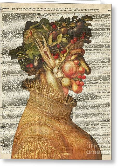 Arcimboldo Summer On Dictionary Page Greeting Card by Jacob Kuch