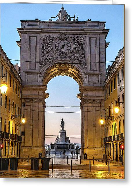 Arco Da Rua Augusta At Sunrise Greeting Card