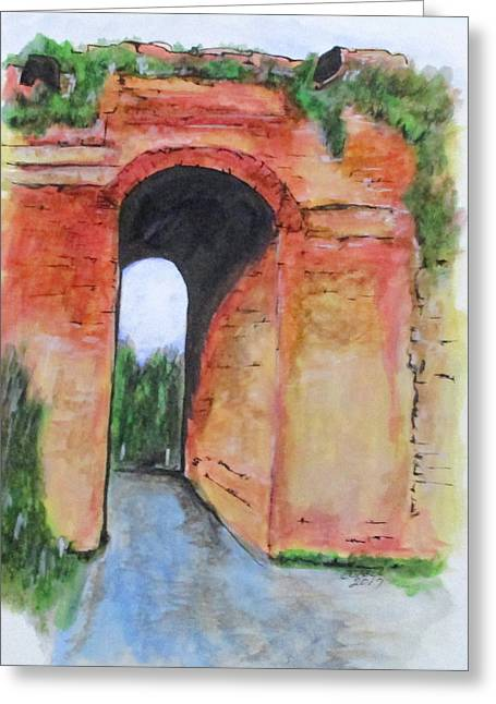 Greeting Card featuring the painting Arco Felice, Revisited by Clyde J Kell