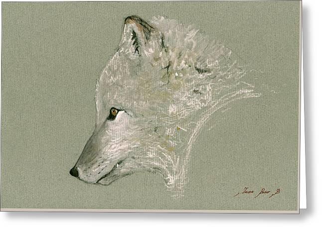 Arctic Fox Head Greeting Card by Juan  Bosco