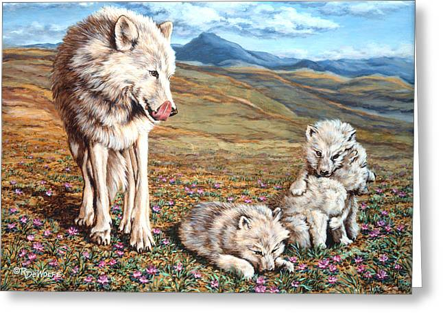 Arctic Wolf Greeting Cards - Arctic Summer Greeting Card by Richard De Wolfe