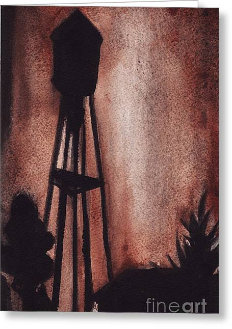 Ardmore Watertower Greeting Card by Ron Erickson