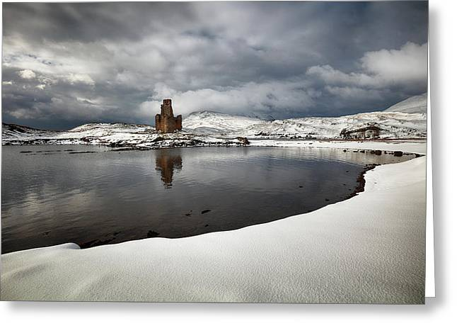 Greeting Card featuring the photograph Ardvreck Castle In Winter by Grant Glendinning