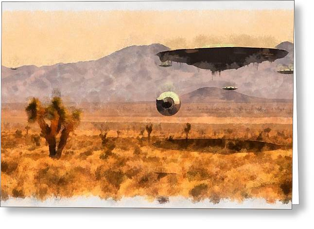 Area 51 Secrets Greeting Card by Esoterica Art Agency