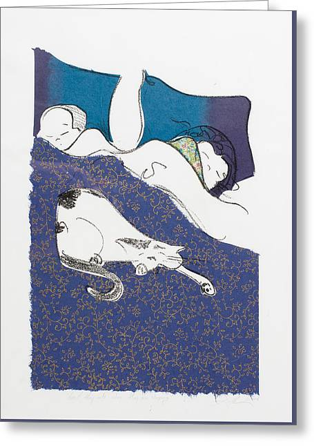 Aren't They Cute When They Are Sleeping Greeting Card by Leela Payne