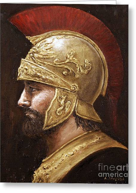 Greeting Card featuring the painting Ares by Arturas Slapsys