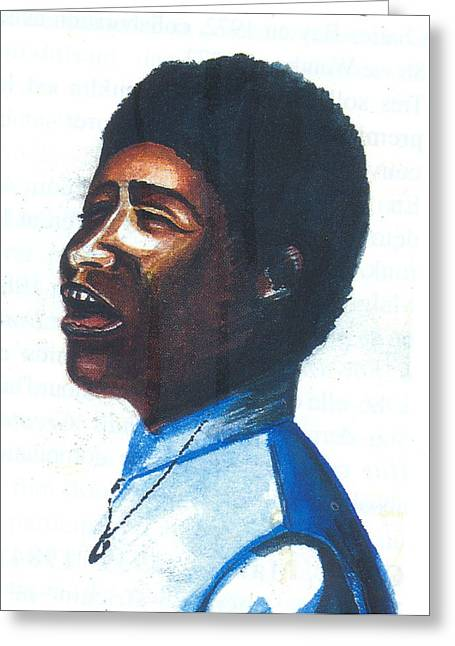 Greeting Card featuring the painting Aretha Franklin by Emmanuel Baliyanga
