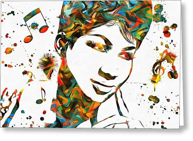 Aretha Franklin Paint Splatter Greeting Card by Dan Sproul