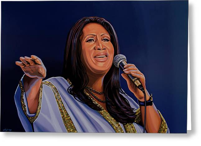 Aretha Franklin Painting Greeting Card by Paul Meijering