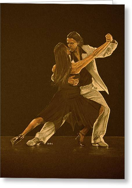 Argentine Tango Dancers Greeting Card by Martin Howard