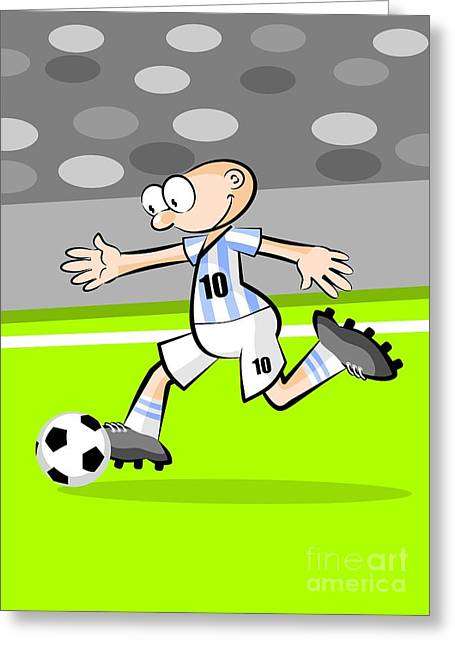 Argentinian Soccer Player With The Ball Greeting Card