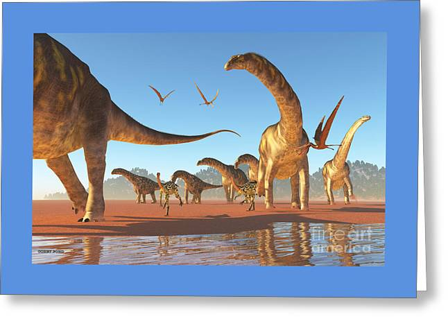 Argentinosaurus Herd Greeting Card