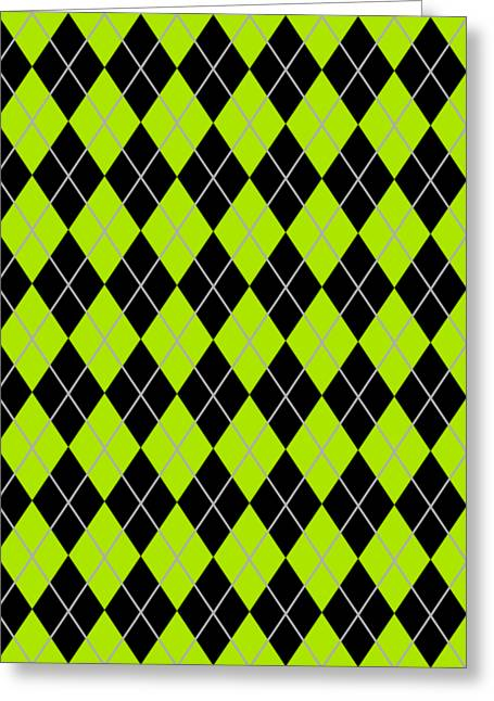 Argyle Diamond With Crisscross Lines In Black N09-p0126 Greeting Card by Custom Home Fashions