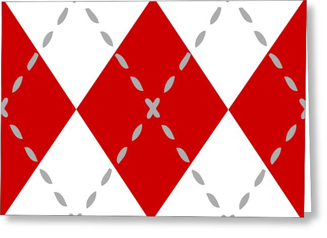 Argyle Diamond With Stitch Lines In White N02-p0176 Greeting Card by Custom Home Fashions