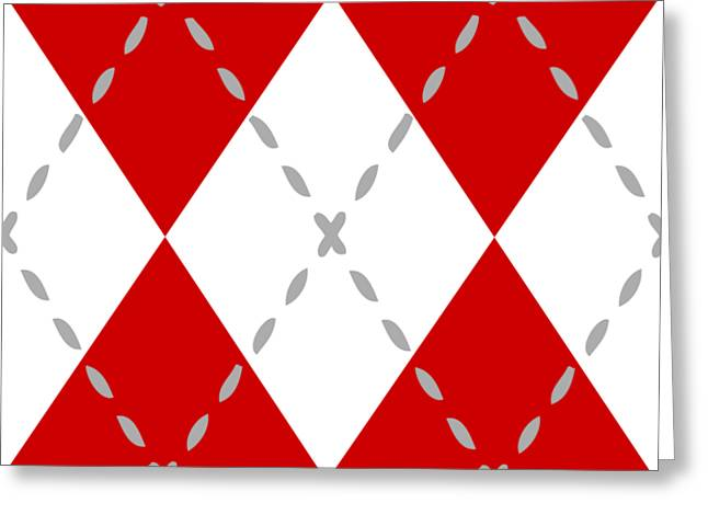 Argyle Diamond With Stitch Lines In White T02-p0176 Greeting Card by Custom Home Fashions