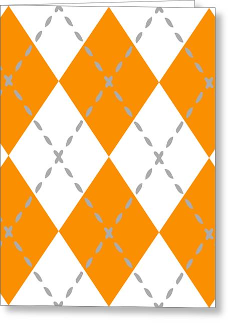 Argyle Diamond With Stitch Lines In White T03-p0176 Greeting Card by Custom Home Fashions