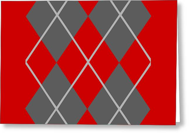 Argyle Diamond With Crisscross Lines In Pewter Gray N02-p0126 Greeting Card by Custom Home Fashions