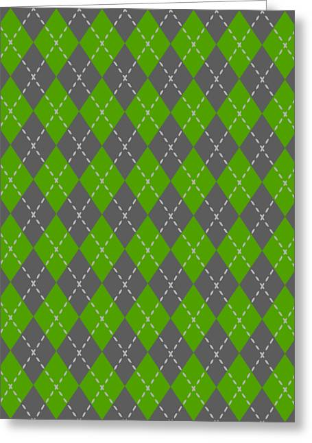 Argyle Diamond With Stitch Lines In Pewter Gray T09-p0176 Greeting Card by Custom Home Fashions