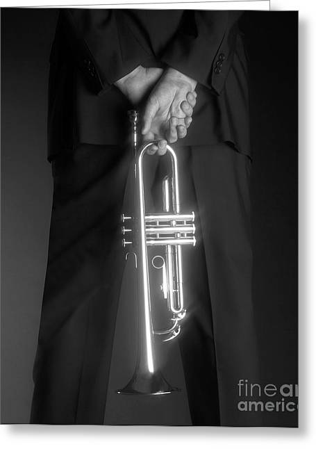 Ari And Trumpet Greeting Card by Tony Cordoza
