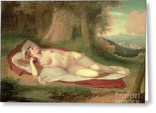 Reverie Paintings Greeting Cards - Ariadne Asleep on the Island of Naxos Greeting Card by John Vanderlyn