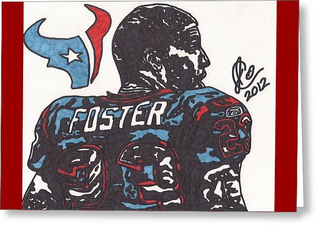 Greeting Card featuring the drawing Arian Foster 2 by Jeremiah Colley