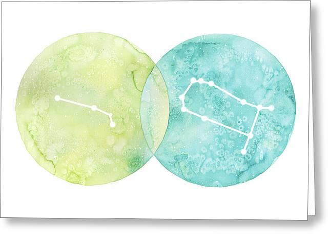 Aries And Gemini Greeting Card by Stephie Jones