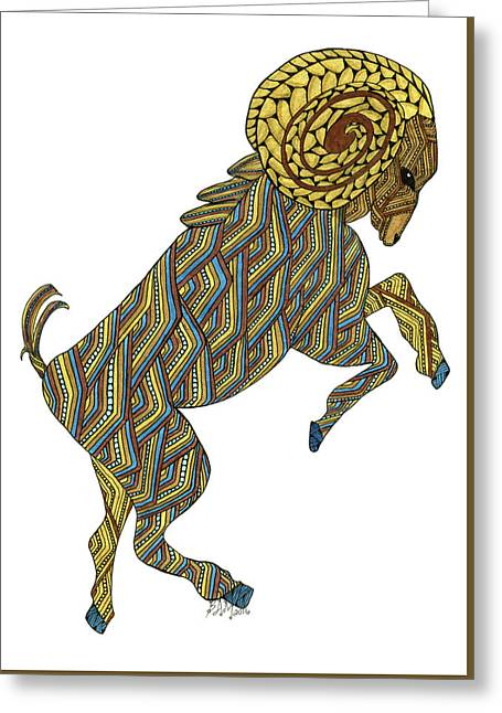 Greeting Card featuring the drawing Aries by Barbara McConoughey