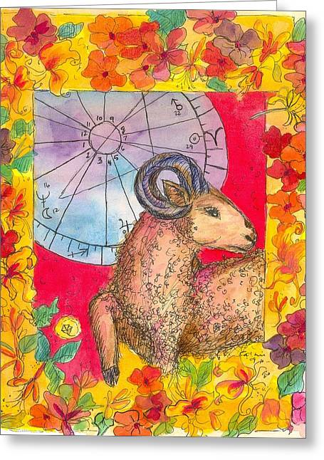 Greeting Card featuring the painting Aries by Cathie Richardson