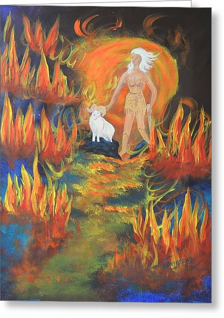 Aries Greeting Card by Connie Townsend