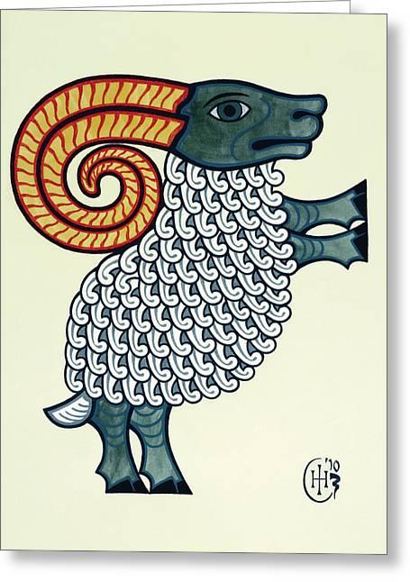 Aries Greeting Card by Ian Herriott