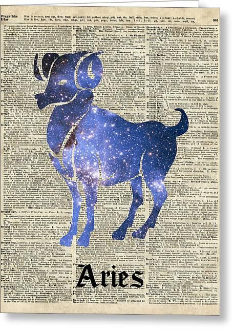 Aries Ram Zodiac Sign Greeting Card by Jacob Kuch
