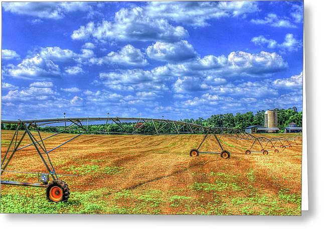 Arificial Rain Jack Curtis Farm Art Greeting Card