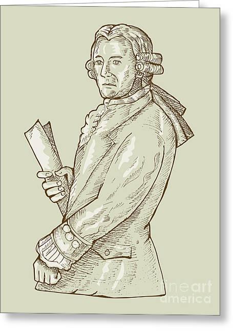 Aristocrat Wearing Wig Greeting Card by Aloysius Patrimonio