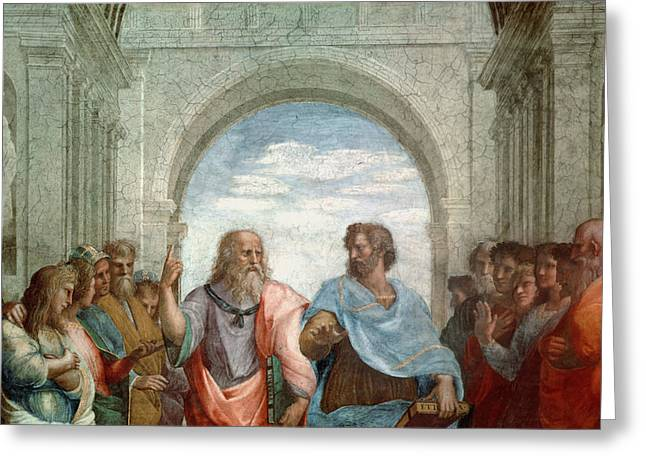 Aristotle And Plato Greeting Card