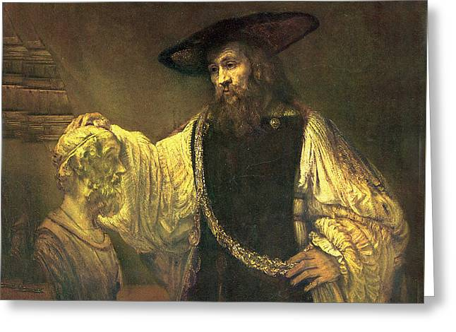 Aristotle Contemplating The Bust Of Homer Greeting Card by Rembrandt