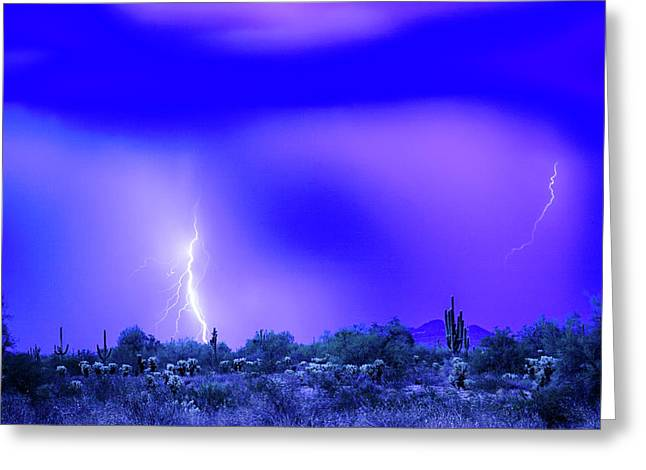 Arizona Blue Hour Desert Storm Greeting Card by James BO Insogna