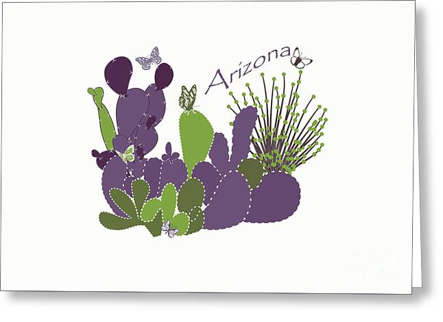 Greeting Card featuring the digital art Arizona Cacti by Methune Hively