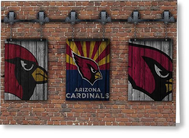 Arizona Cardinals Brick Wall Greeting Card by Joe Hamilton