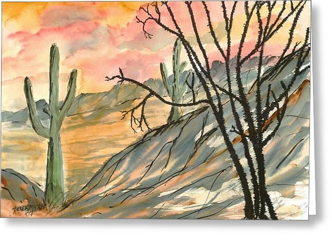 Arizona Evening Southwestern Landscape Painting Poster Print  Greeting Card by Derek Mccrea