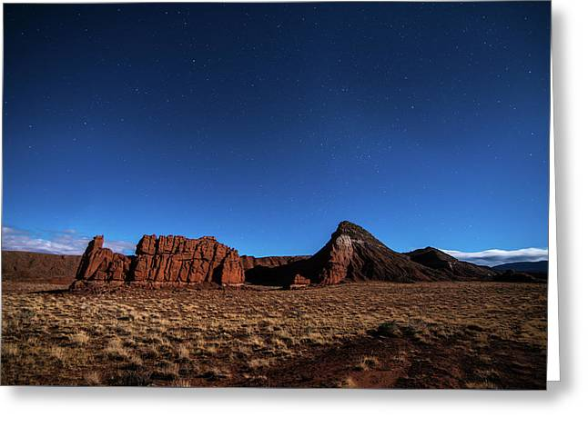 Arizona Landscape At Night Greeting Card