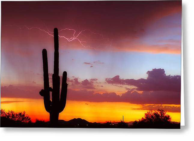 Arizona Lightning Sunset Greeting Card