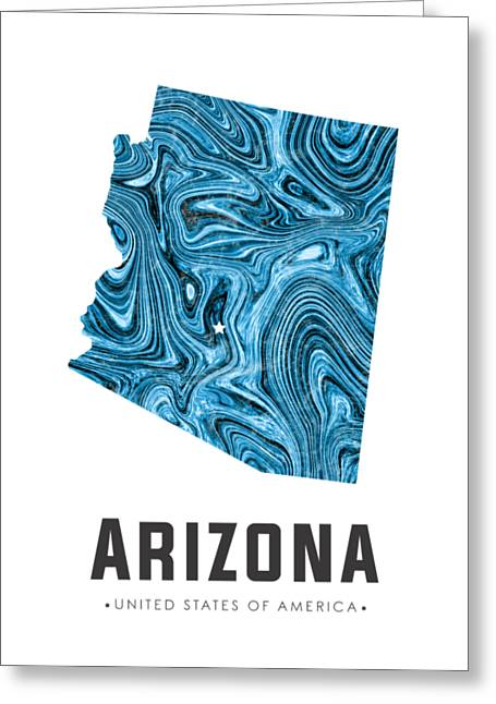 Arizona Map Art Abstract In Blue Greeting Card