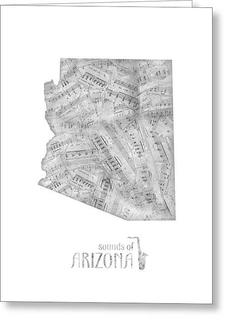 Arizona Map Music Notes Greeting Card