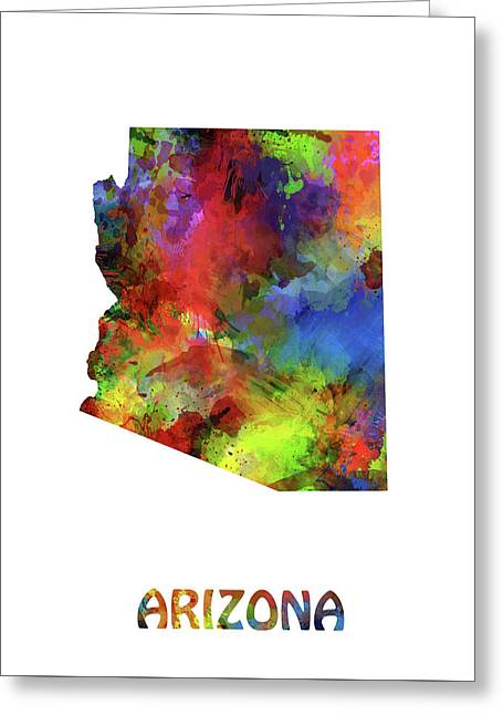 Arizona Map Watercolor Greeting Card